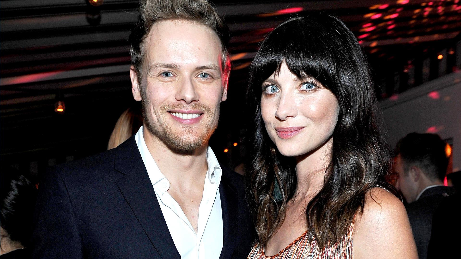 'Outlander' Stars Caitriona Balfe and Sam Heughan Adorably Pose Together at  Pre-Golden Globes Party!