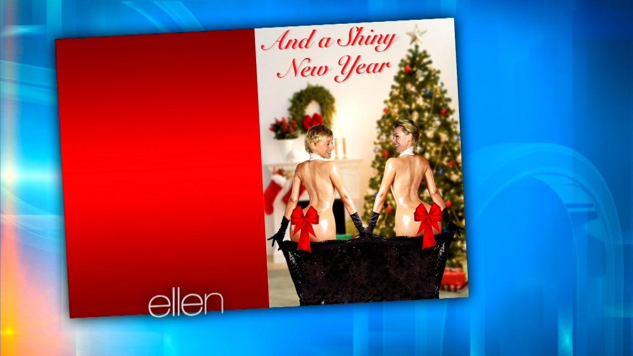 Ellen degeneres copies kim kardashians naked butt photo for her ellen degeneres copies kim kardashians naked butt photo for her christmas card entertainment tonight kristyandbryce Images