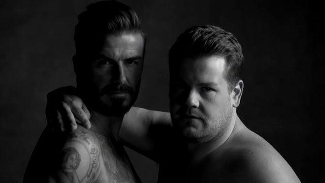 David Beckham Underwear H  M >> David Beckham & James Corden Strip Down to Their Underwear for Best Fake Ad Ever ...