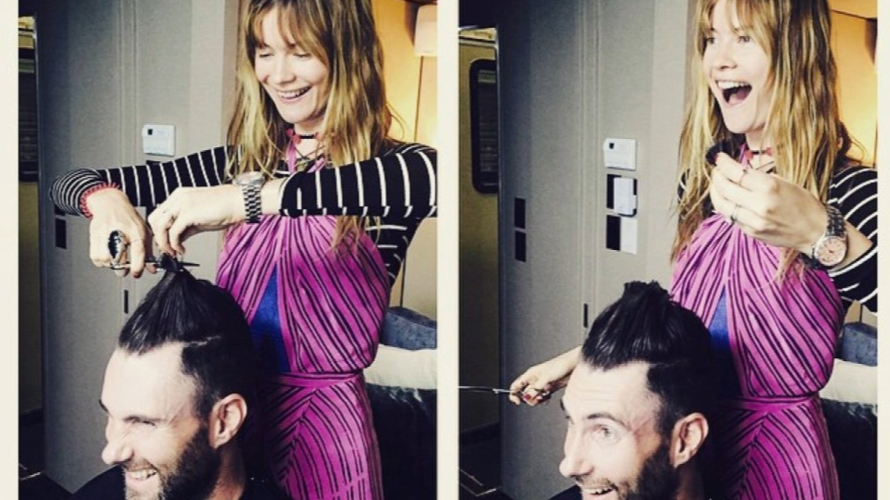 Adam Levine's Supermodel Wife Gives Him a Haircut -- See the Results