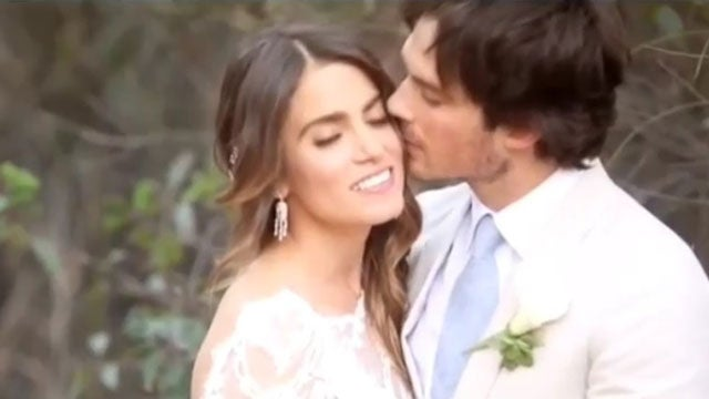 Nikki reed ian somerhalder cant stop kissing in intimate nikki reed ian somerhalder cant stop kissing in intimate wedding day video entertainment tonight junglespirit Images