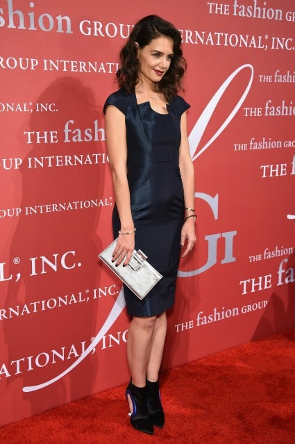 katie holmes looks absolutely stunning in classic blue