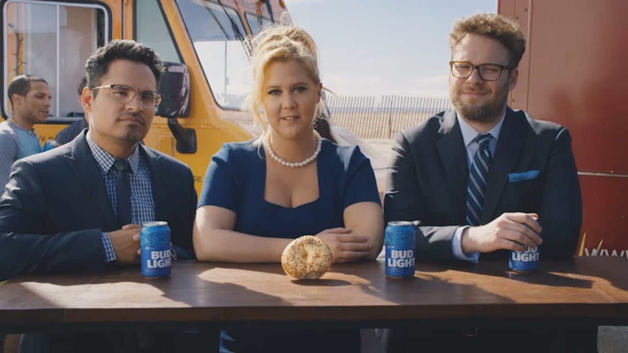 Exclusive amy schumer and seth rogen return in new bud light ad for exclusive amy schumer and seth rogen return in new bud light ad for a delicious lesson in diversity entertainment tonight aloadofball Gallery