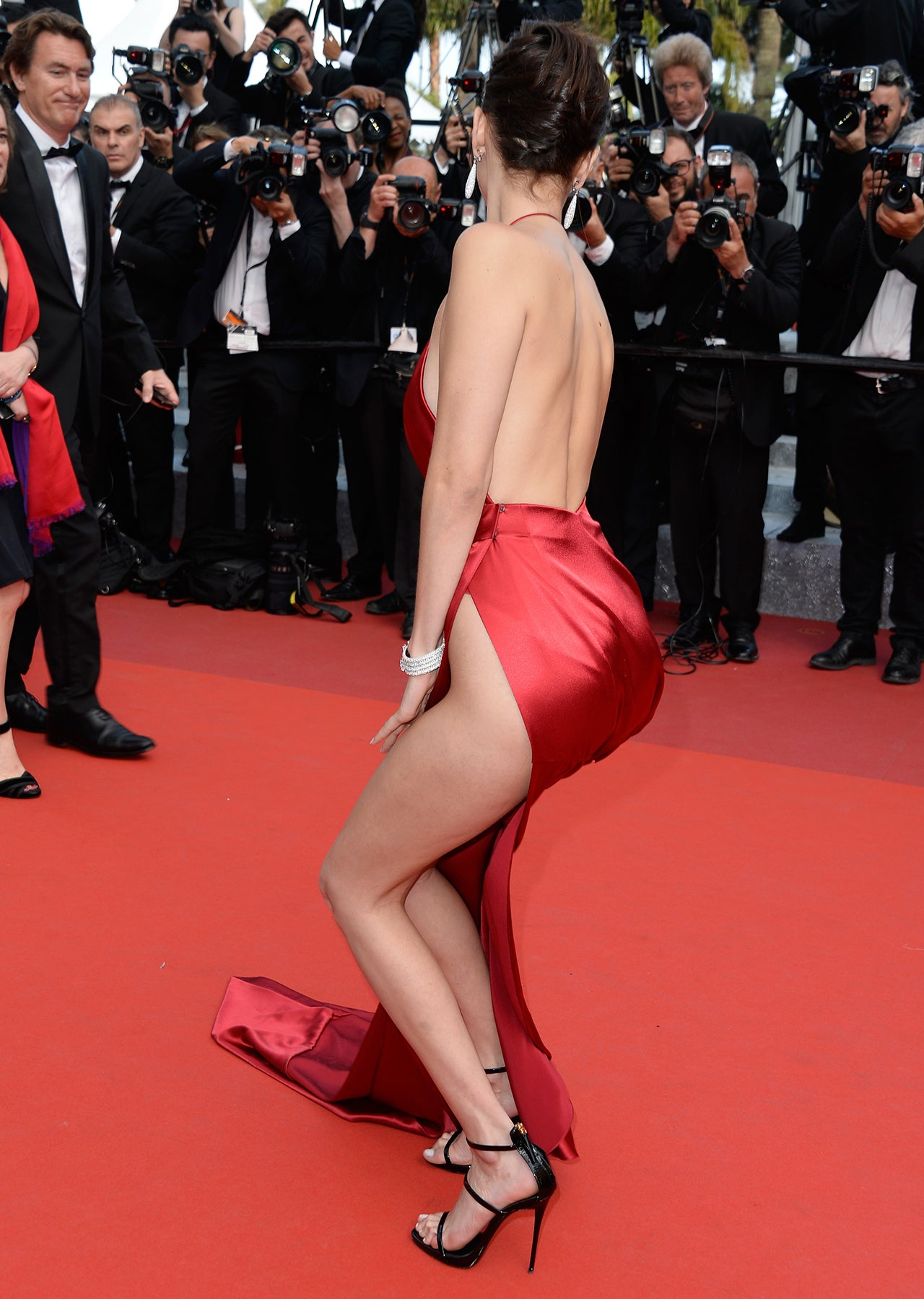 Bella Hadid Barely Avoids a Wardrobe Malfunction in Nearly Naked