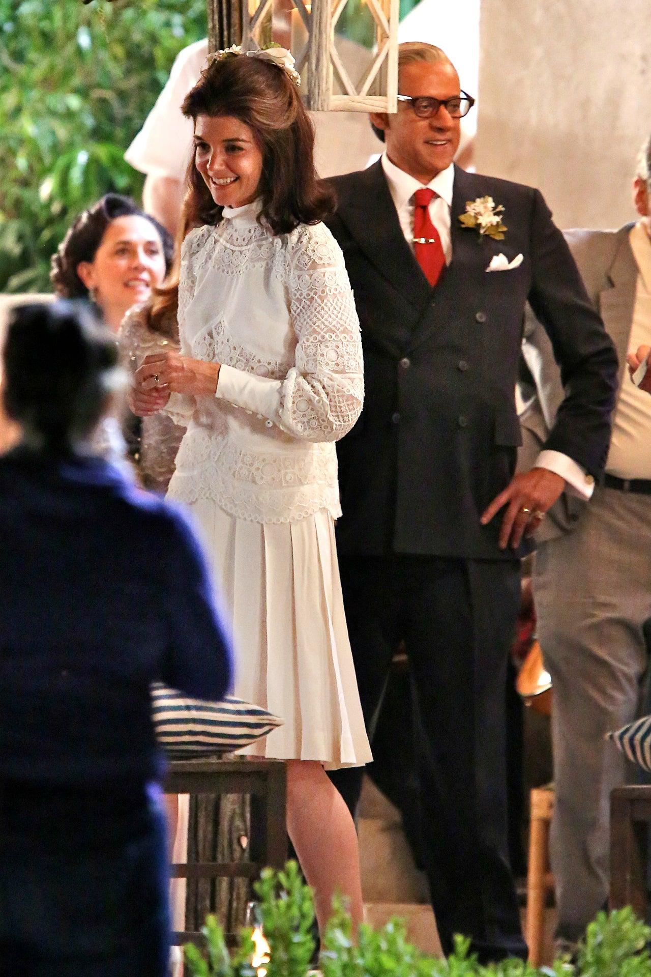 katie holmes glows as jackie kennedy in her wedding dress in the