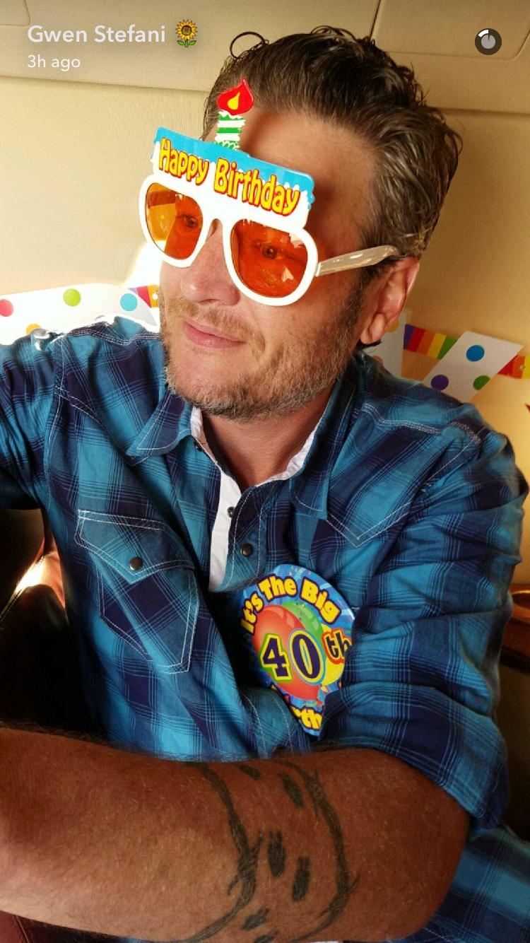 Gwen Stefani Helps Blake Shelton Celebrate His 40th