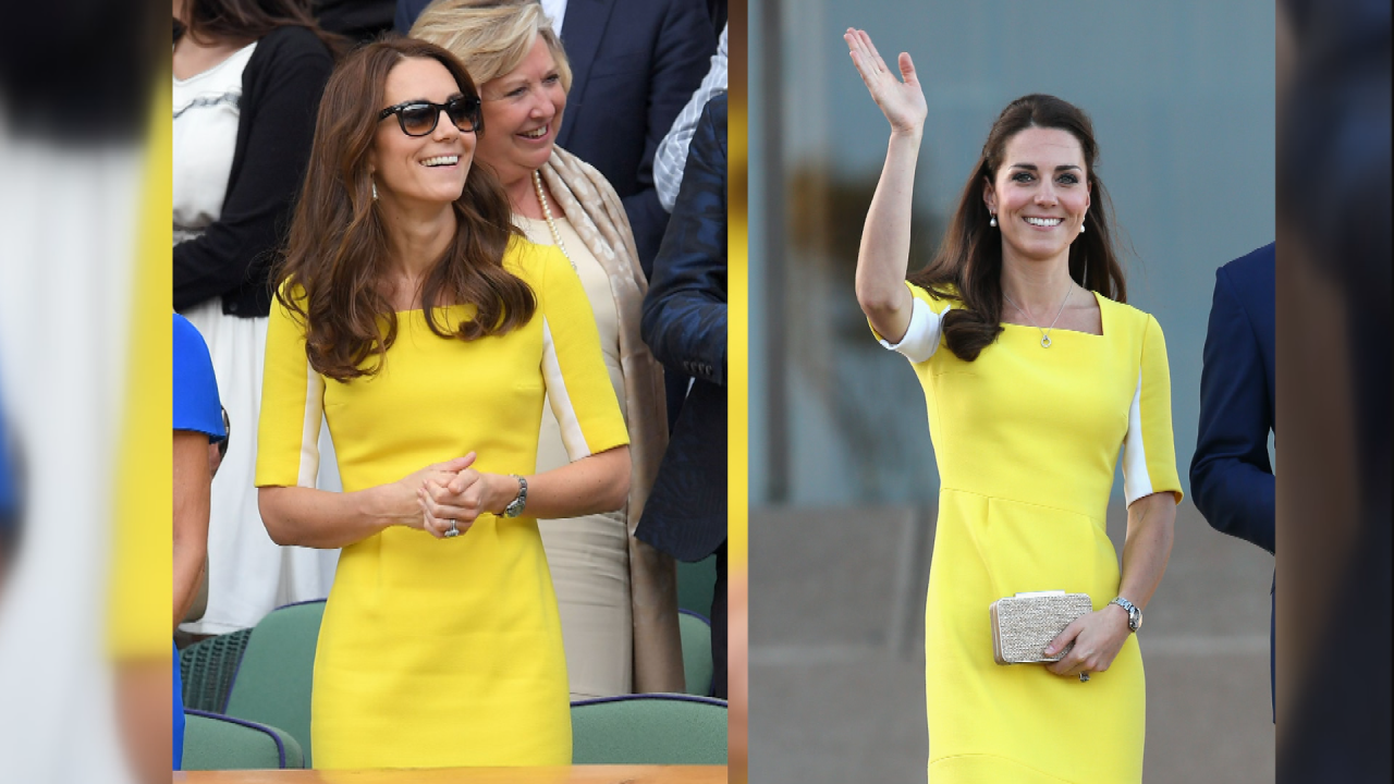 ff0bc2817aa3 Kate Middleton Rocks a Yellow Recycled Dress to Wimbledon