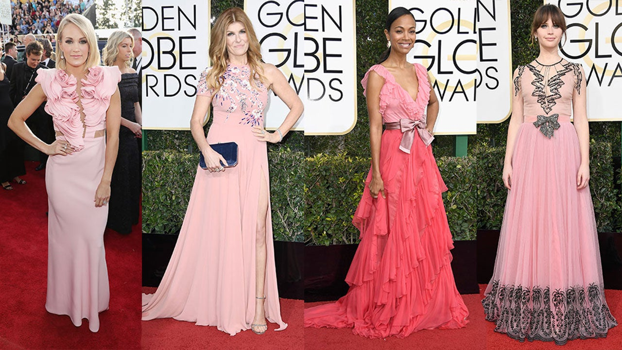 2017 Golden Globes Fashion Trends Pink Yellow And Gold