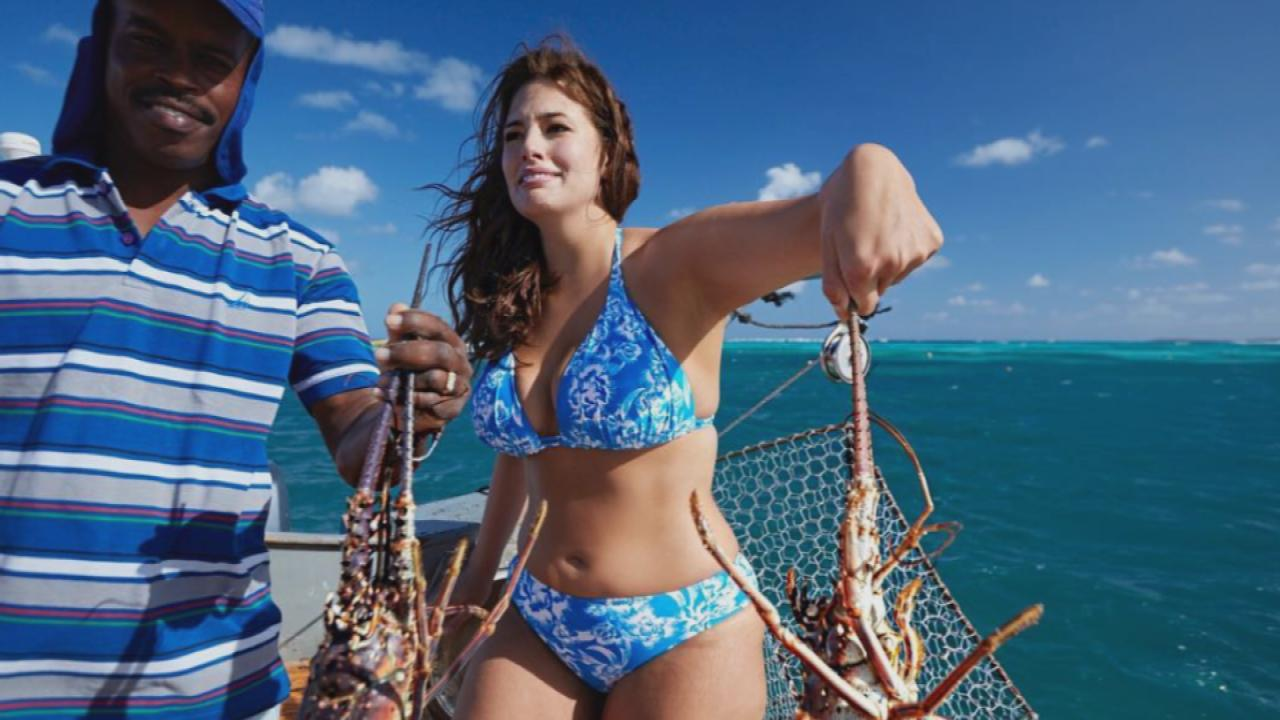 Ashley Graham Shows Off Her Sexy Curves in a Blue Bikini While Holding a  Lobster -- See the Pic!