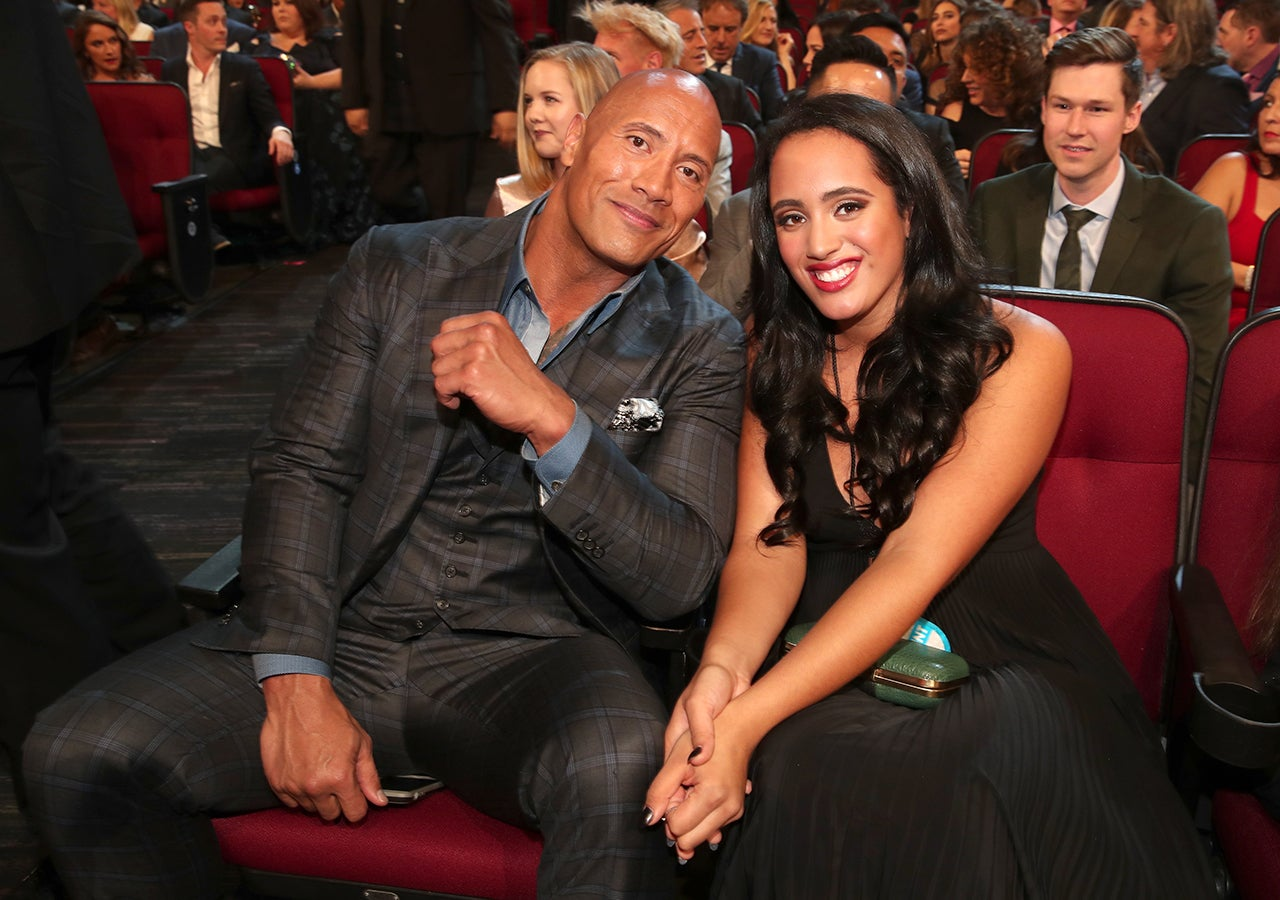 Dwayne Johnson along with his daughter Simone at People's Choice Award in 2017