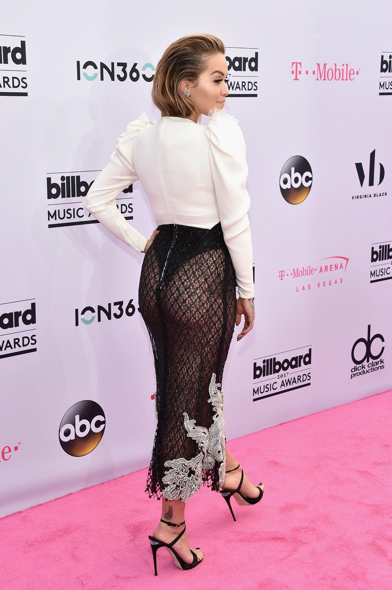 Rita Ora Bares Booty In Thong Body Suit Dress At Billboard
