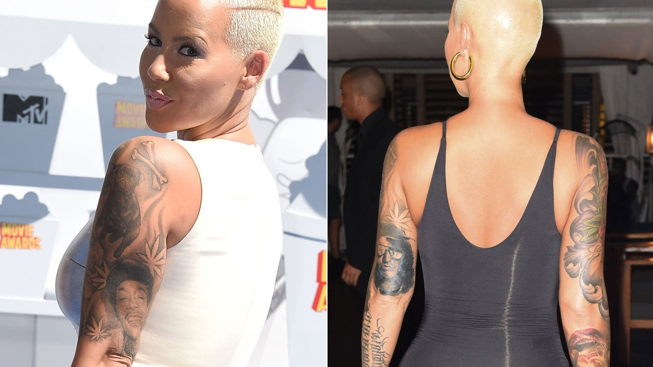 Amber Rose Face Tattoo: Amber Rose Covers Up Her Wiz Khalifa Tattoo With Another