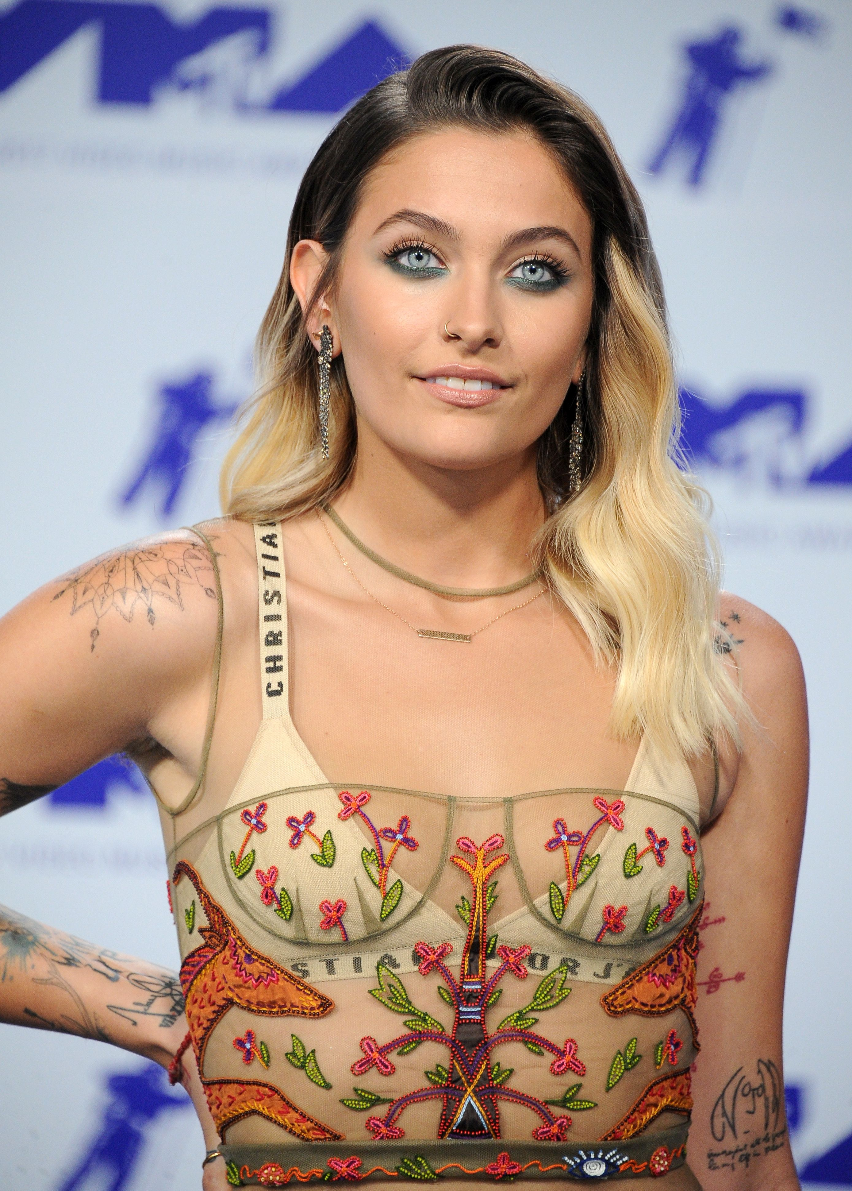 Paris Jackson Rocks Sexy Sheer Dress Over Her Underwear At Mtv Video Music Awards See The Look
