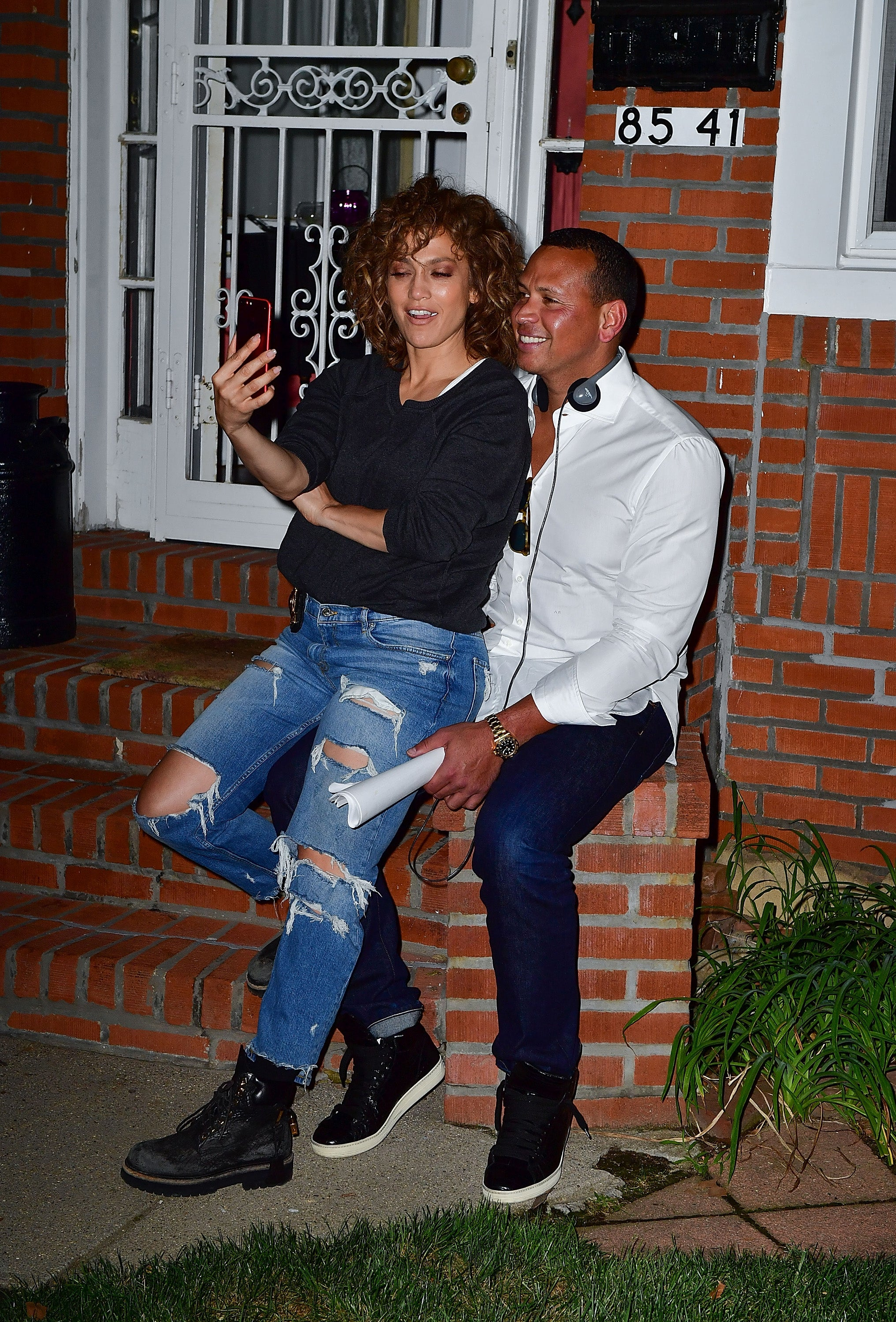 Jennifer Lopez and Alex Rodriguez on the set of 'Shades of Blue'