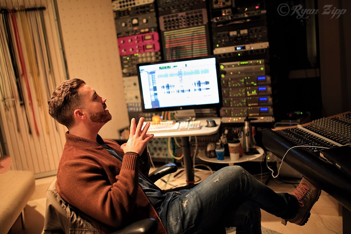 American Idol winner Nick Fradiani in studio