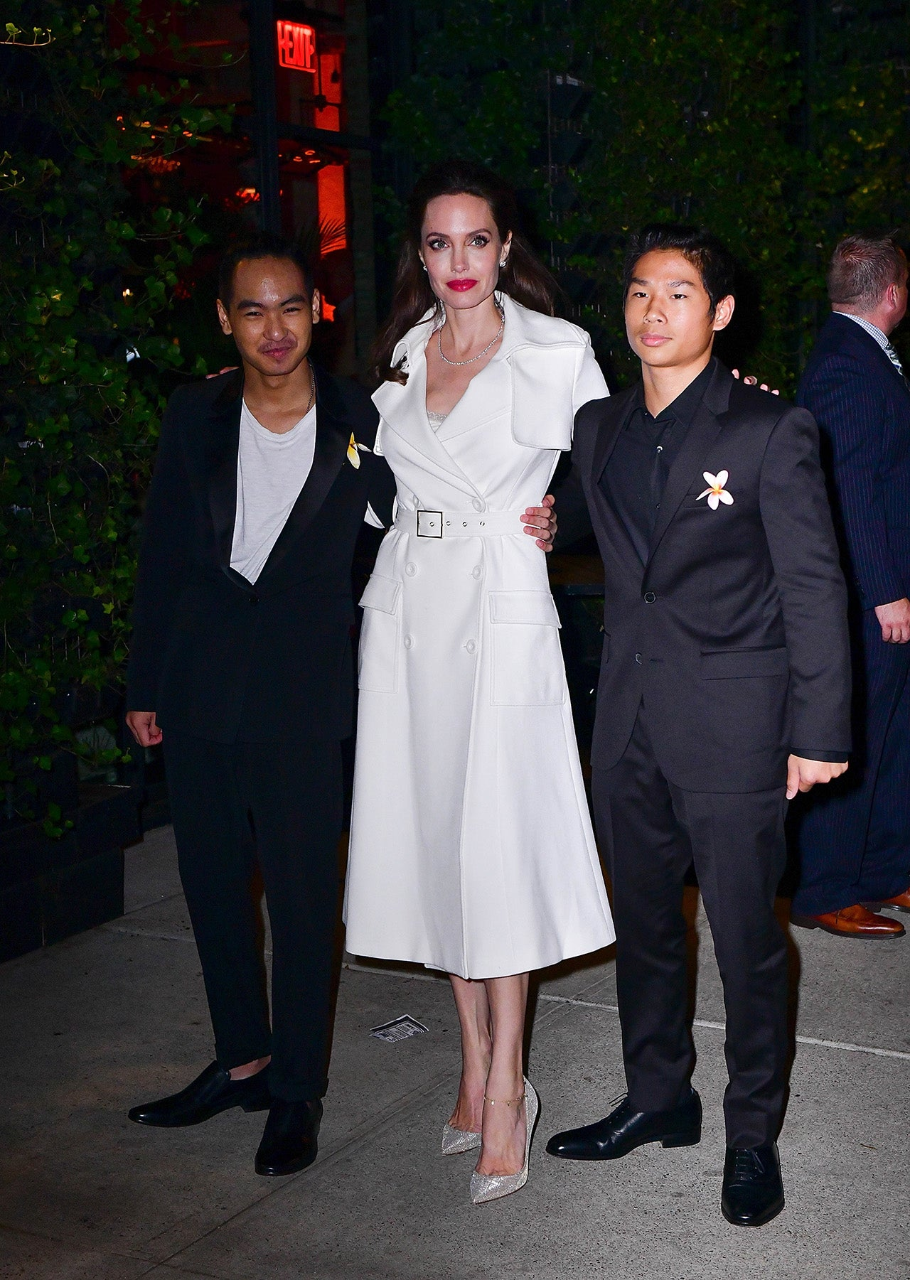 Angelina Jolie Poses With Sons Maddox And Pax At Film