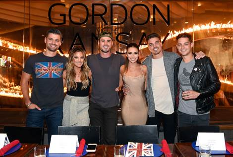 Bachelor and Bachelorette stars Dean Unglert, Ben Higgins, Peter Kraus, Becca Tilley, Ashley Iaconetti and Wells Adams