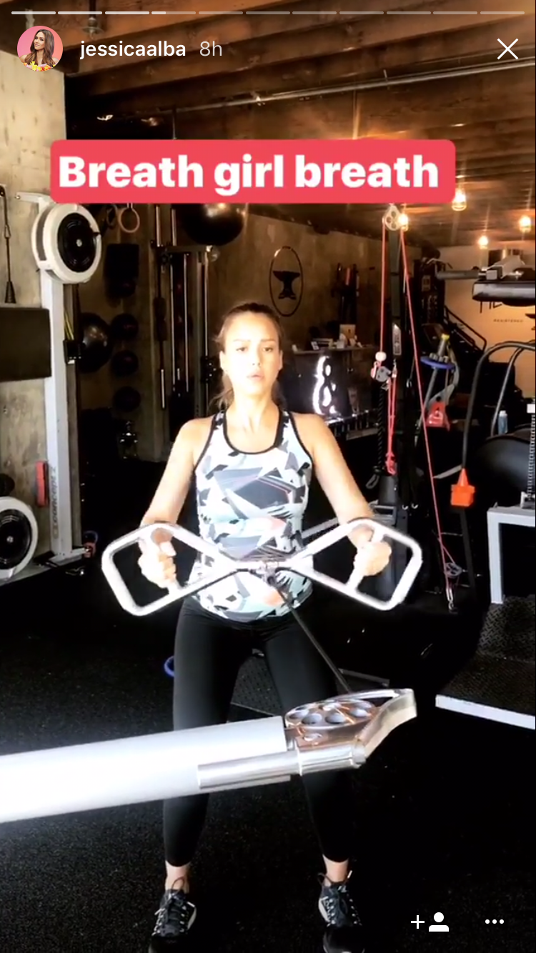 Jessica Alba working out