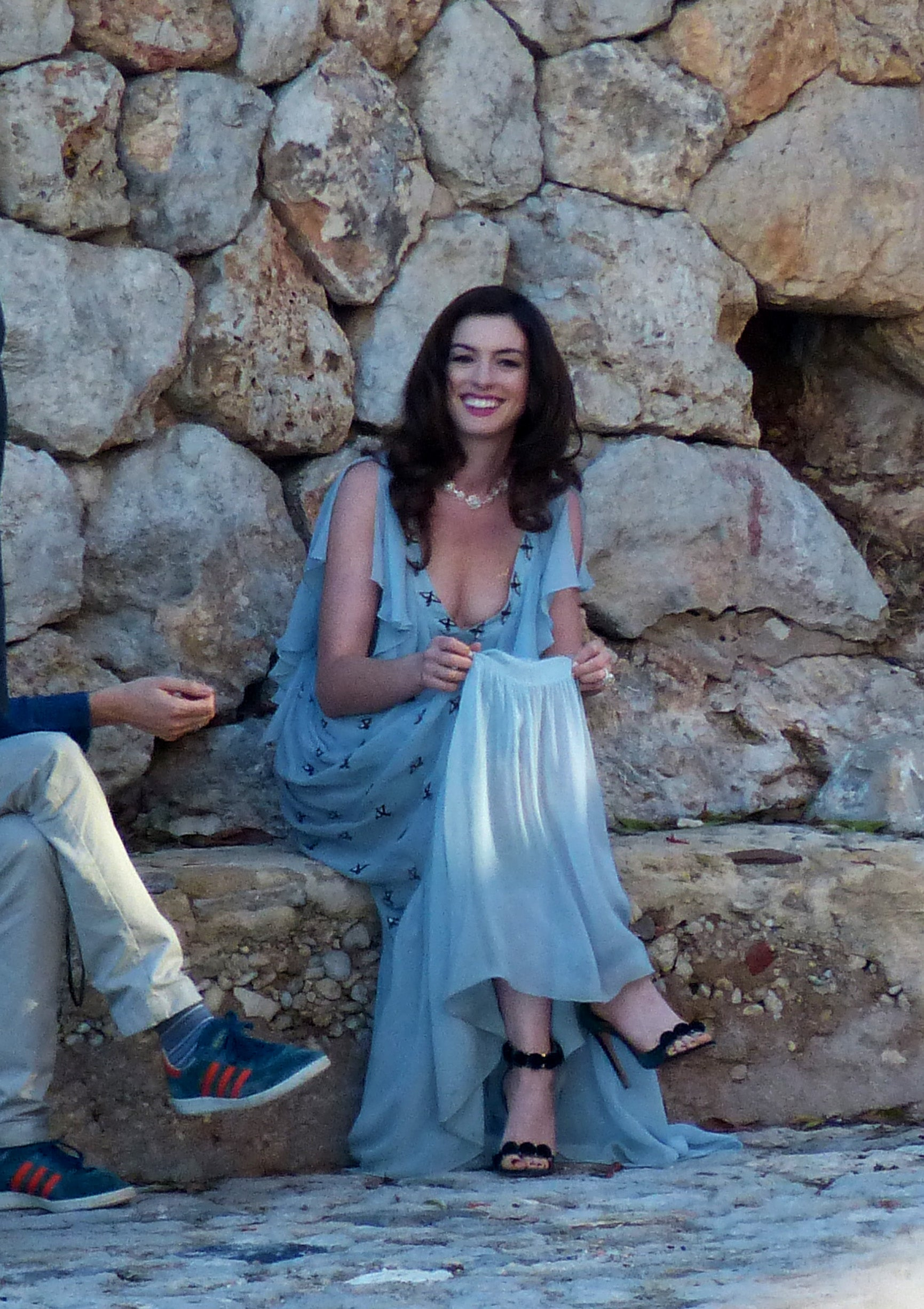 Anne Hathaway Stuns In Ethereal Blue Gown On The Set Of