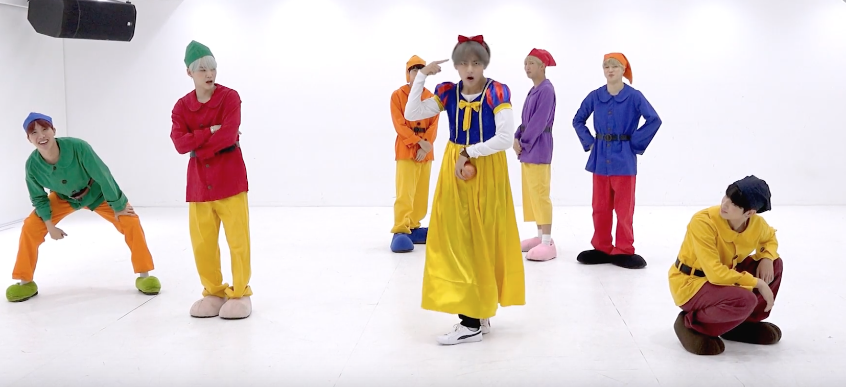 d22c249bd5101 BTS Hilariously Dress Up as Snow White & The Seven Dwarfs for Dance  Rehearsal