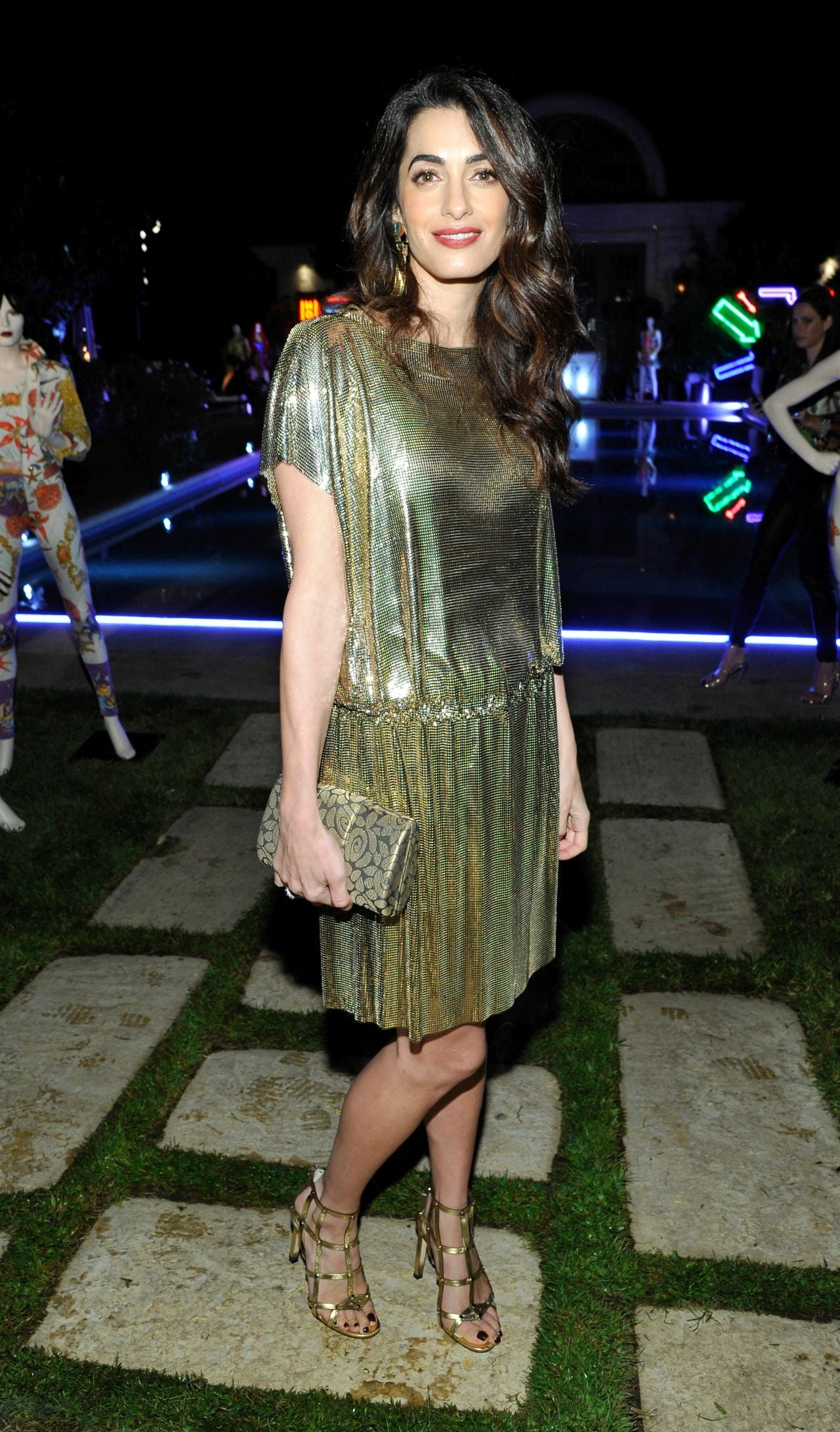 Amal Clooney Shimmers in Metallic Gold Dress and Matching Heels -- See the Chic Look!