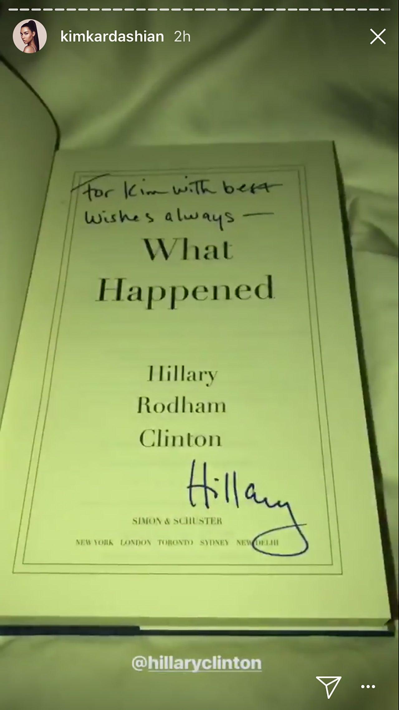Hillary Clinton signs book for Kim Kardashian