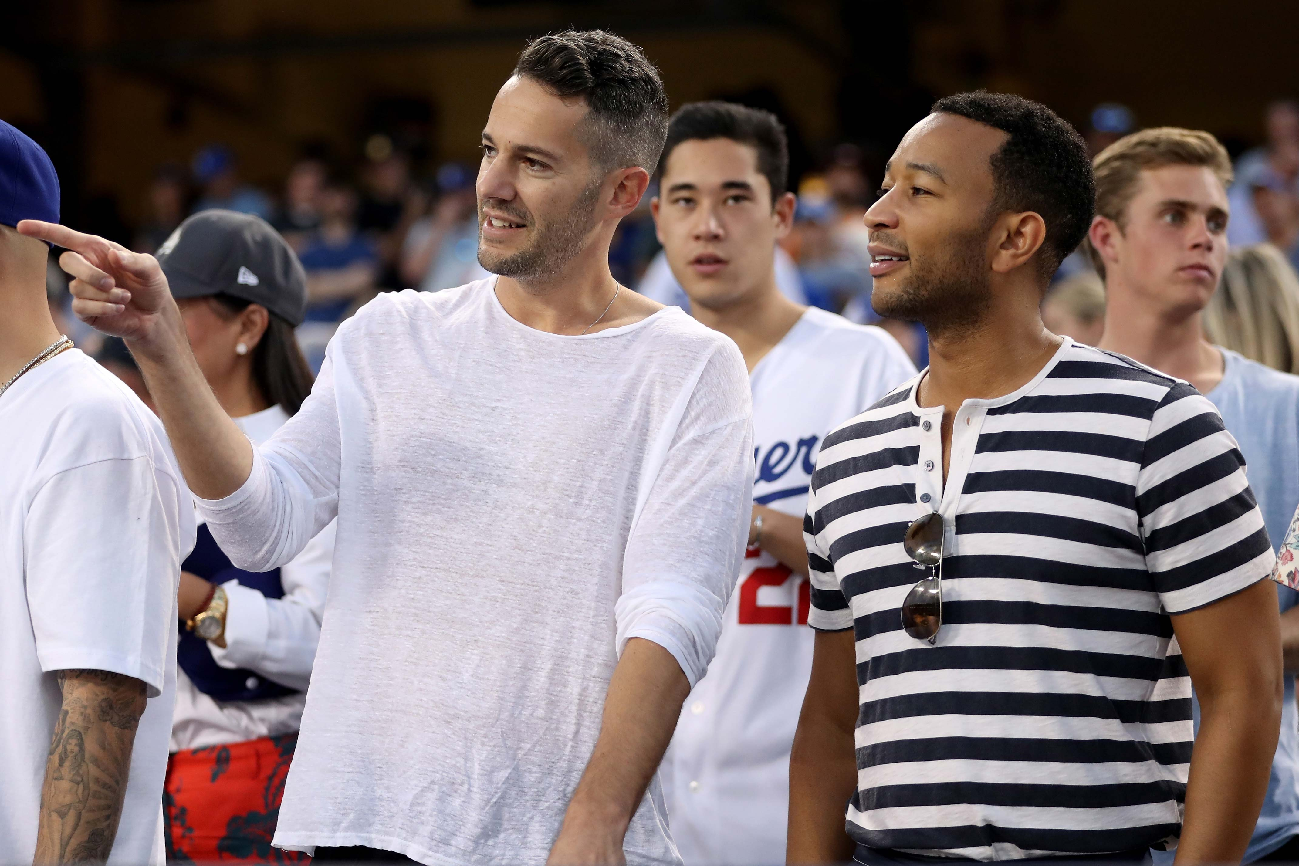 John Legend at Game 2 of the World Series at Dodger Stadium