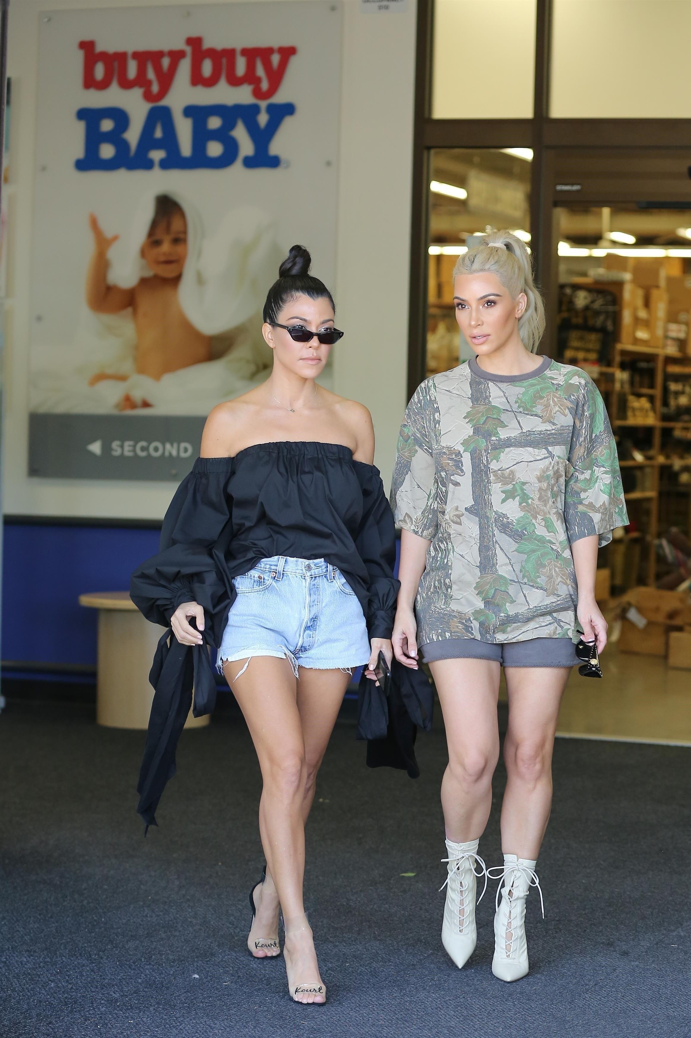 Kourtney and Kim Kardashian at Buy Buy Baby