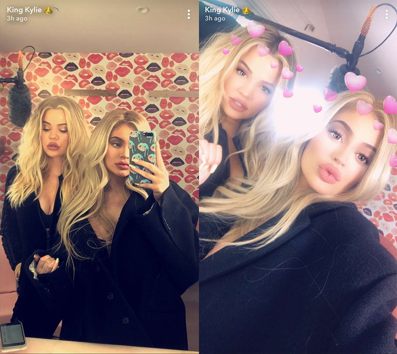 Khloe Kardashian and Kylie Jenner filming snapchat