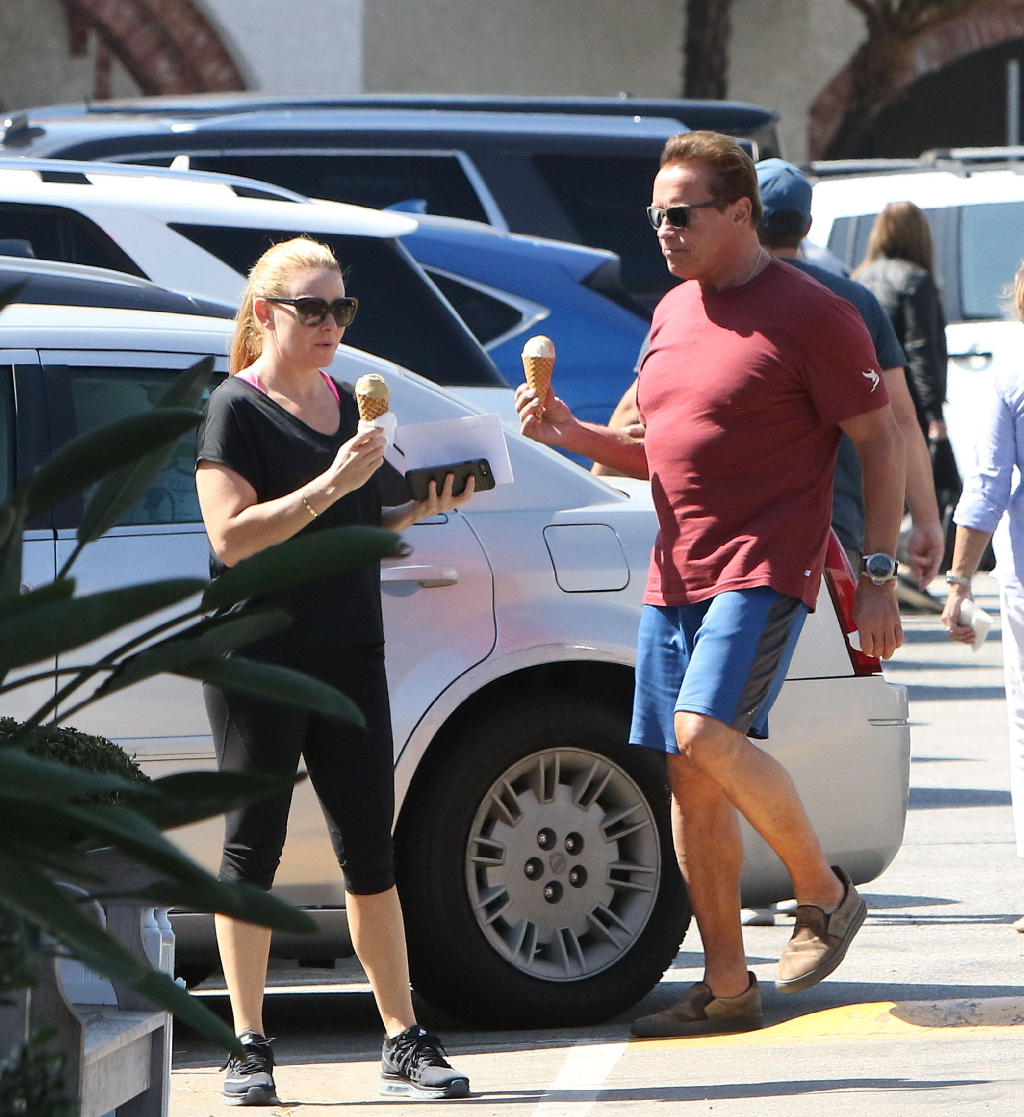Arnold Schwarzenegger enjoying ice cream with girlfriend of four years, Heather Milligan  in Brentwood, California