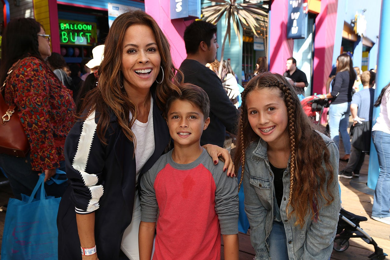 Brooke Burke and kids at Santa Monica Pier