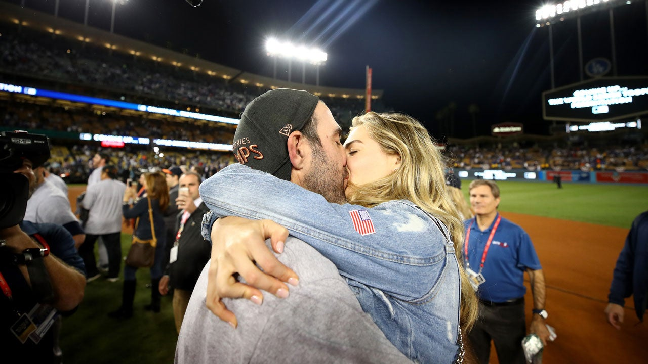 Kate Upton kissed her fiance Justin Verlander after he won World Series Wednesday