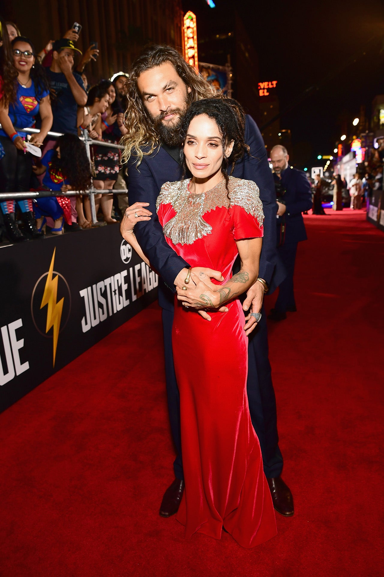 Lisa Bonet and Jason Momoa at 'Justice League' premiere