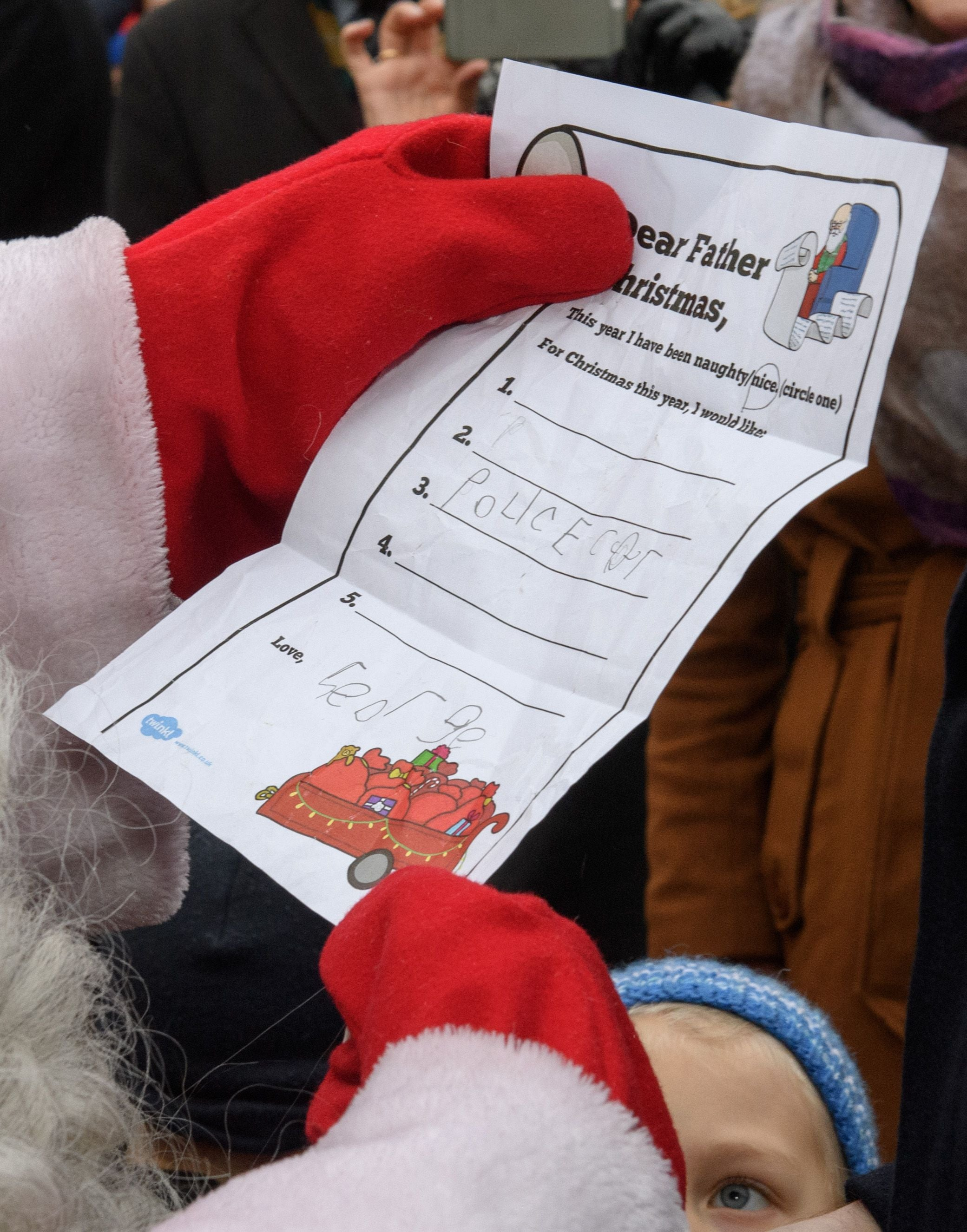 Prince George's note to Santa