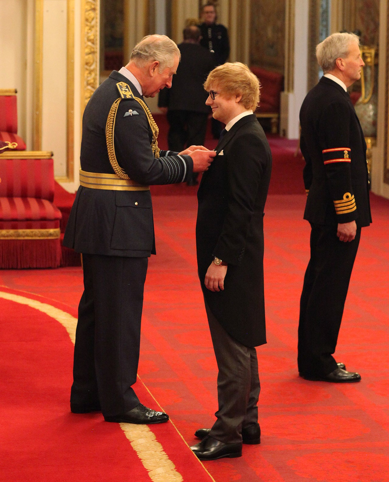 Ed Sheeran receives an MBE from Prince Charles at Buckingham Palace