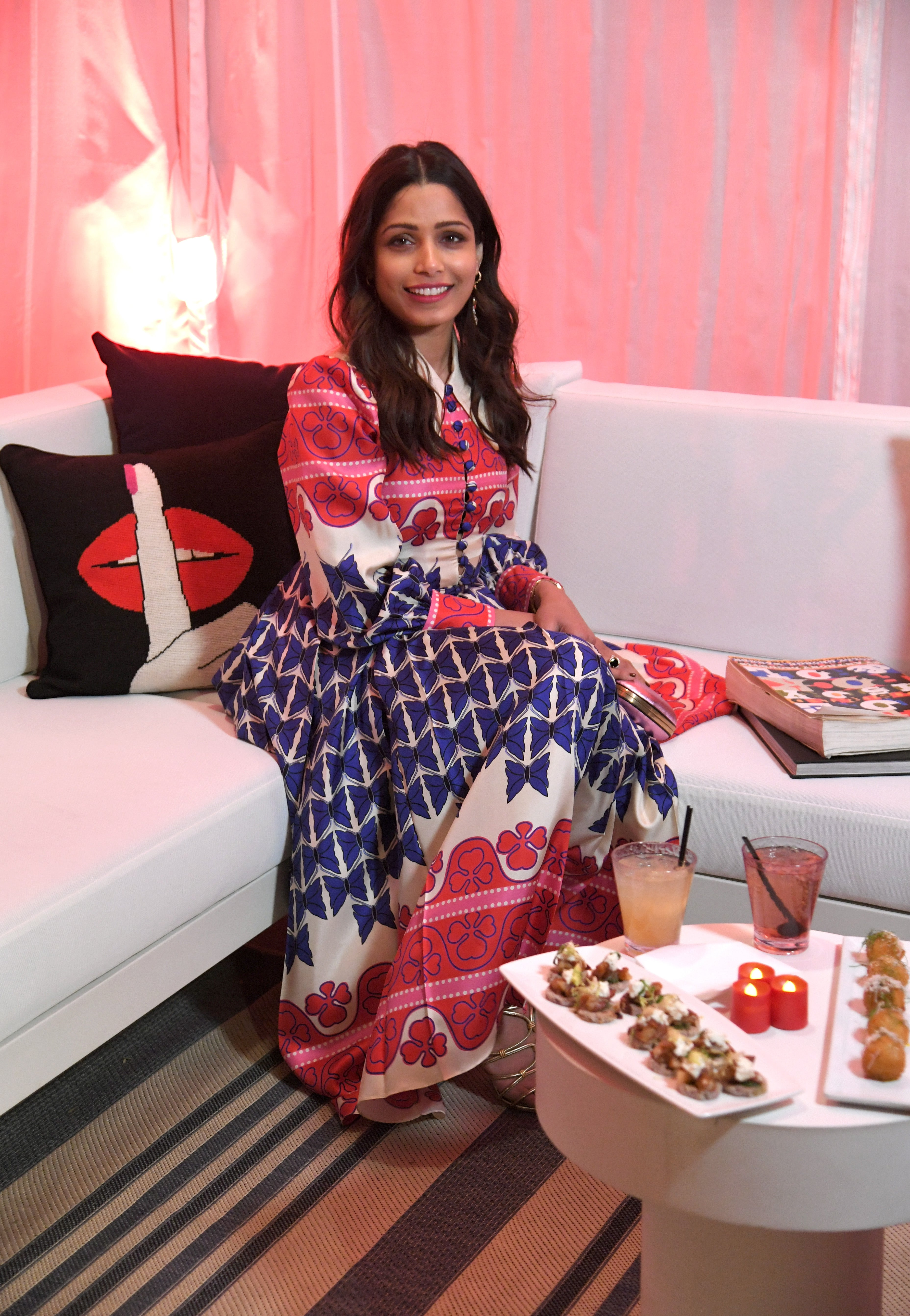 Star Sightings Stephen Colbert Talks Louis Ck With Samantha Raisa Blouse In Light Blue Beatrice Clothing Freida Pinto And Andaz