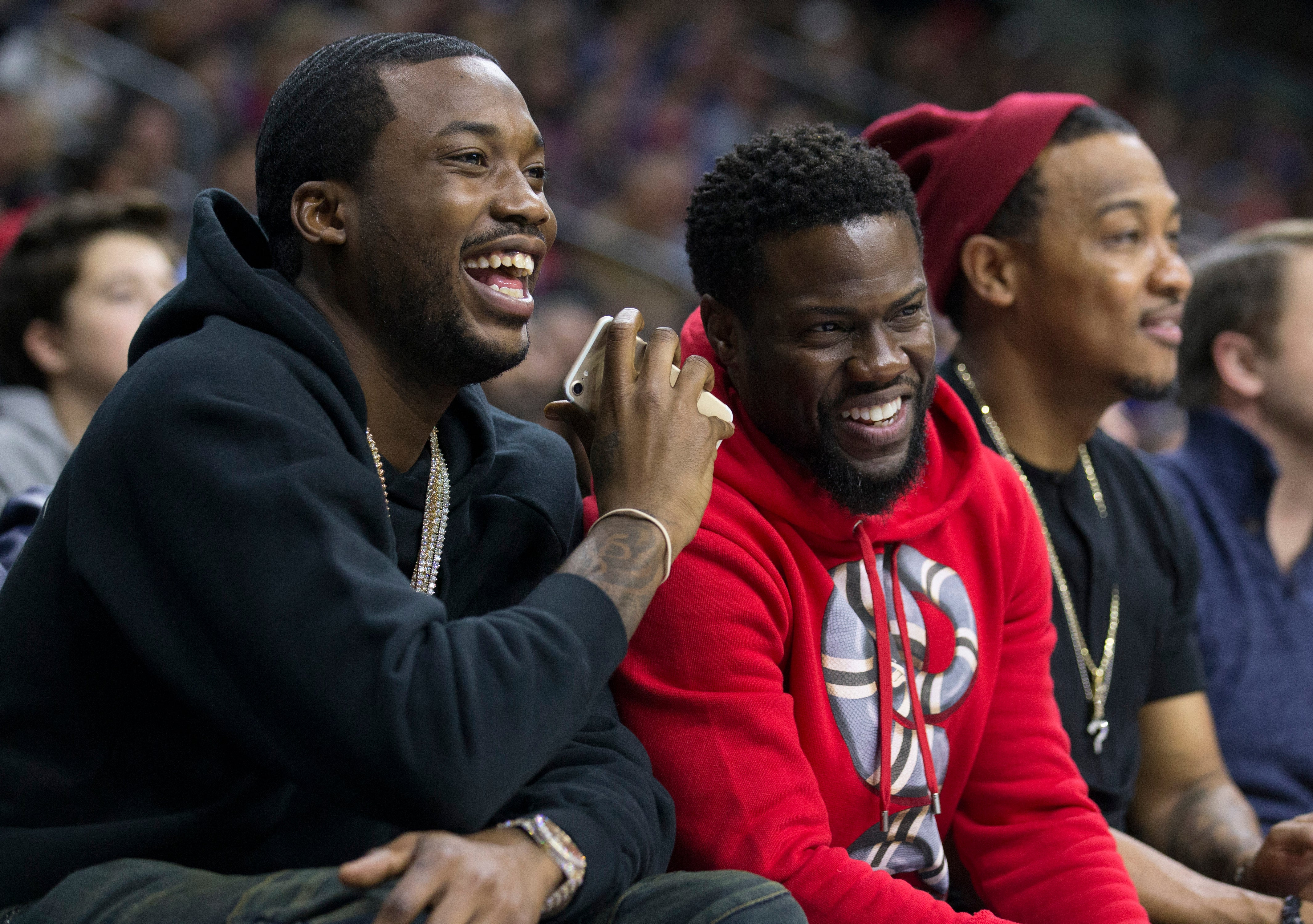 30eda09fb Meek Mill Sits Courtside With Kevin Hart at Philadelphia 76ers Playoff Game  Hours After Prison Release