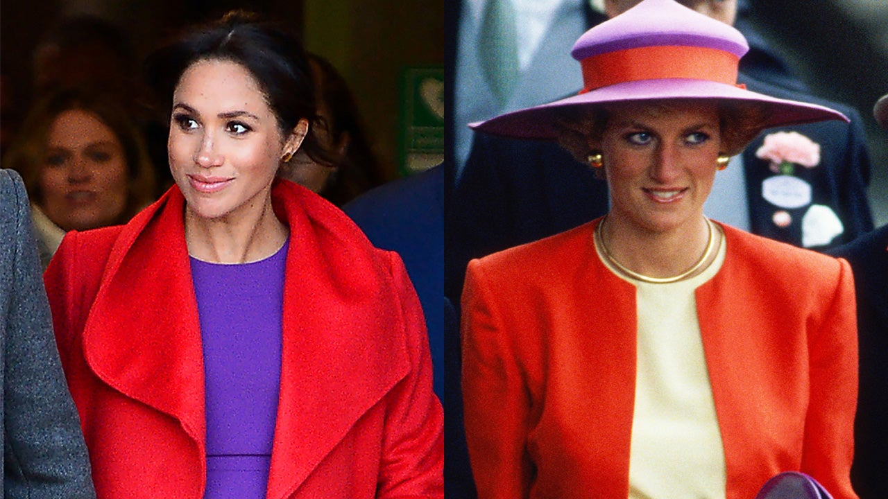 Meghan Markle Looks Like Princess Diana in Her Bold Red-and-Purple Outfit  4371a66c71f9c