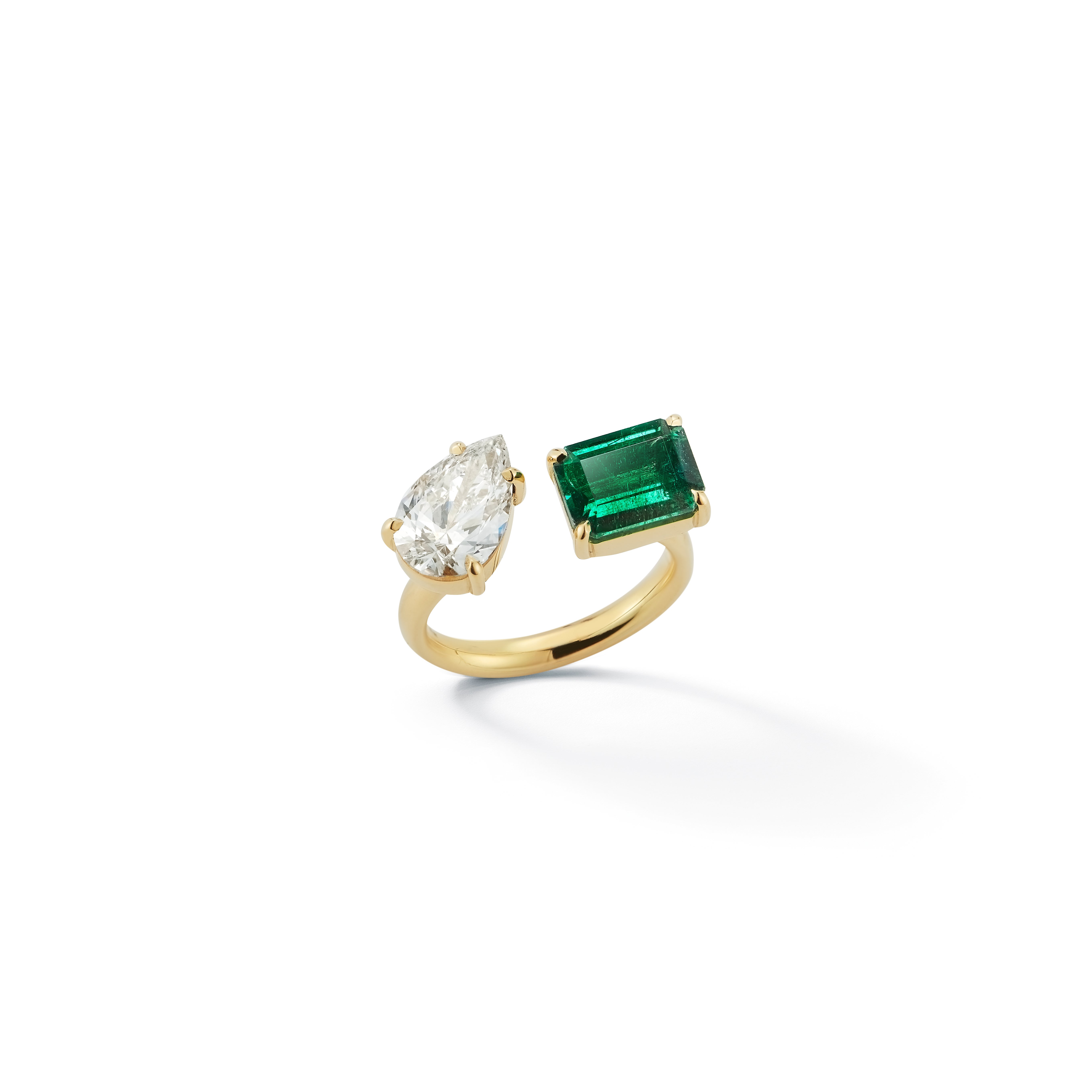 Jemma Wynne diamond pear and emerald ring