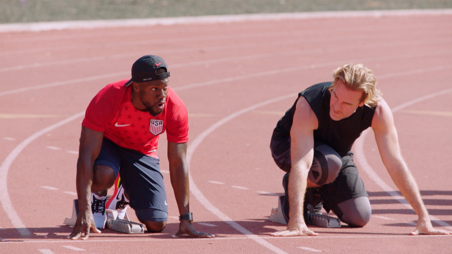 Kevin Hart And James Van Der Beek Attempt Grueling Track And Field Races Exclusive