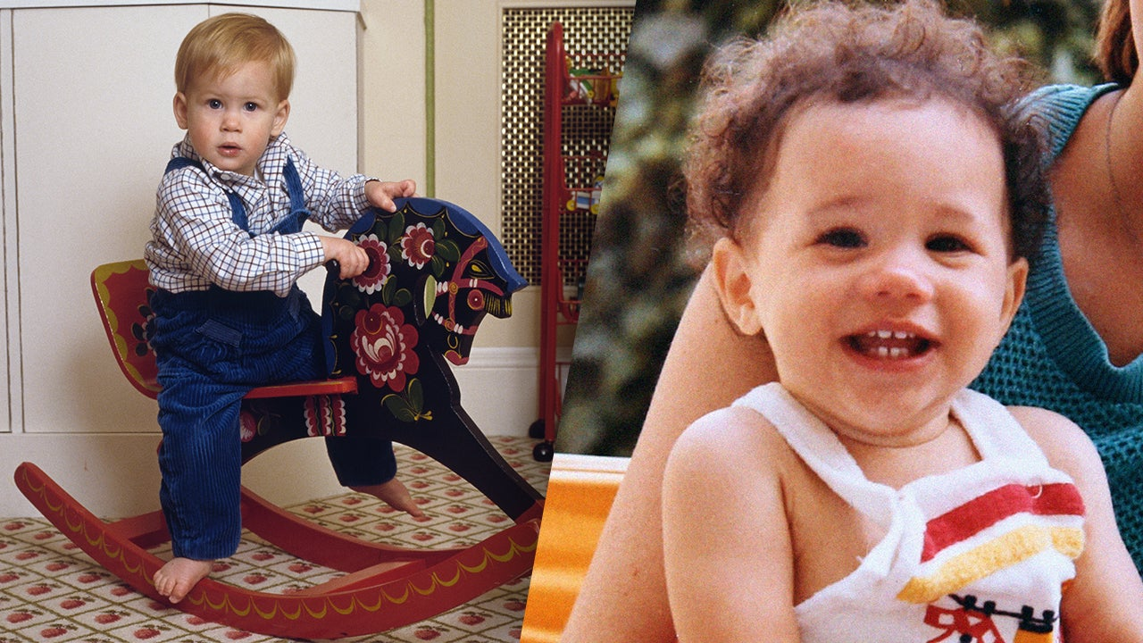 Step one find pictures of both prince harry left and meghan markle right when they themselves were babies