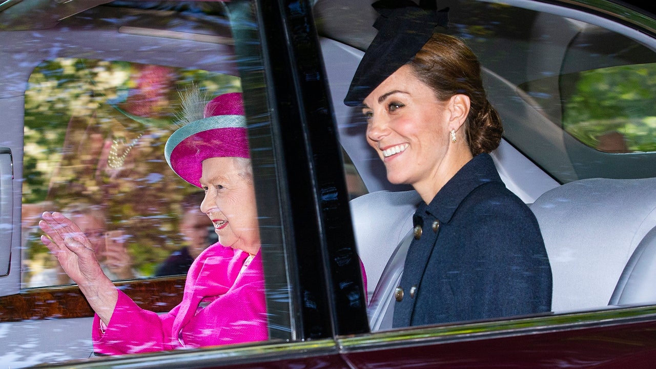 Kate Middleton Beams While Heading to Church With Queen Elizabeth II