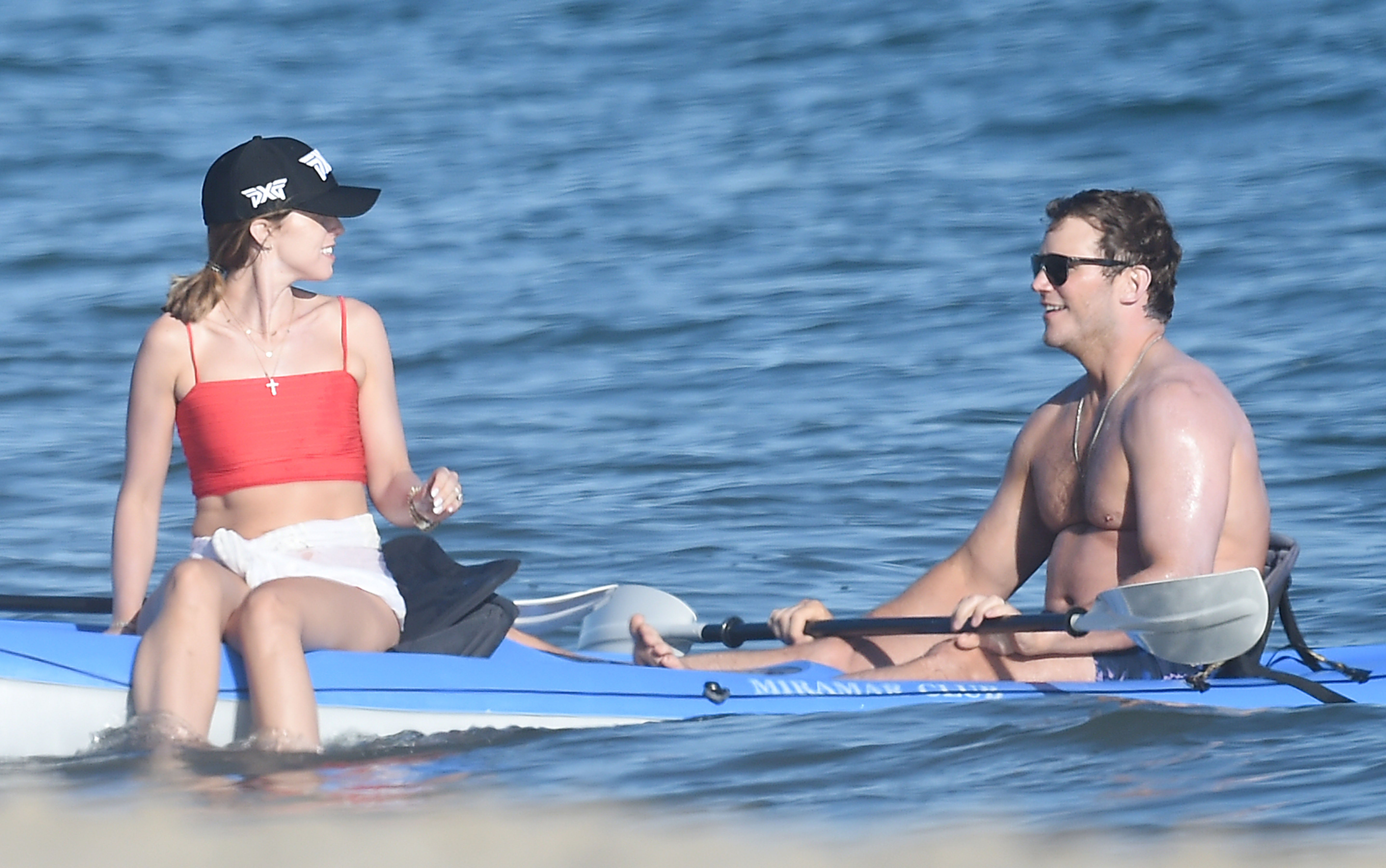 Shirtless Chris Pratt Has Beach Day With Wife Katherine Schwarzenegger & His 'Parks and Rec' Co-Star Rob Lowe