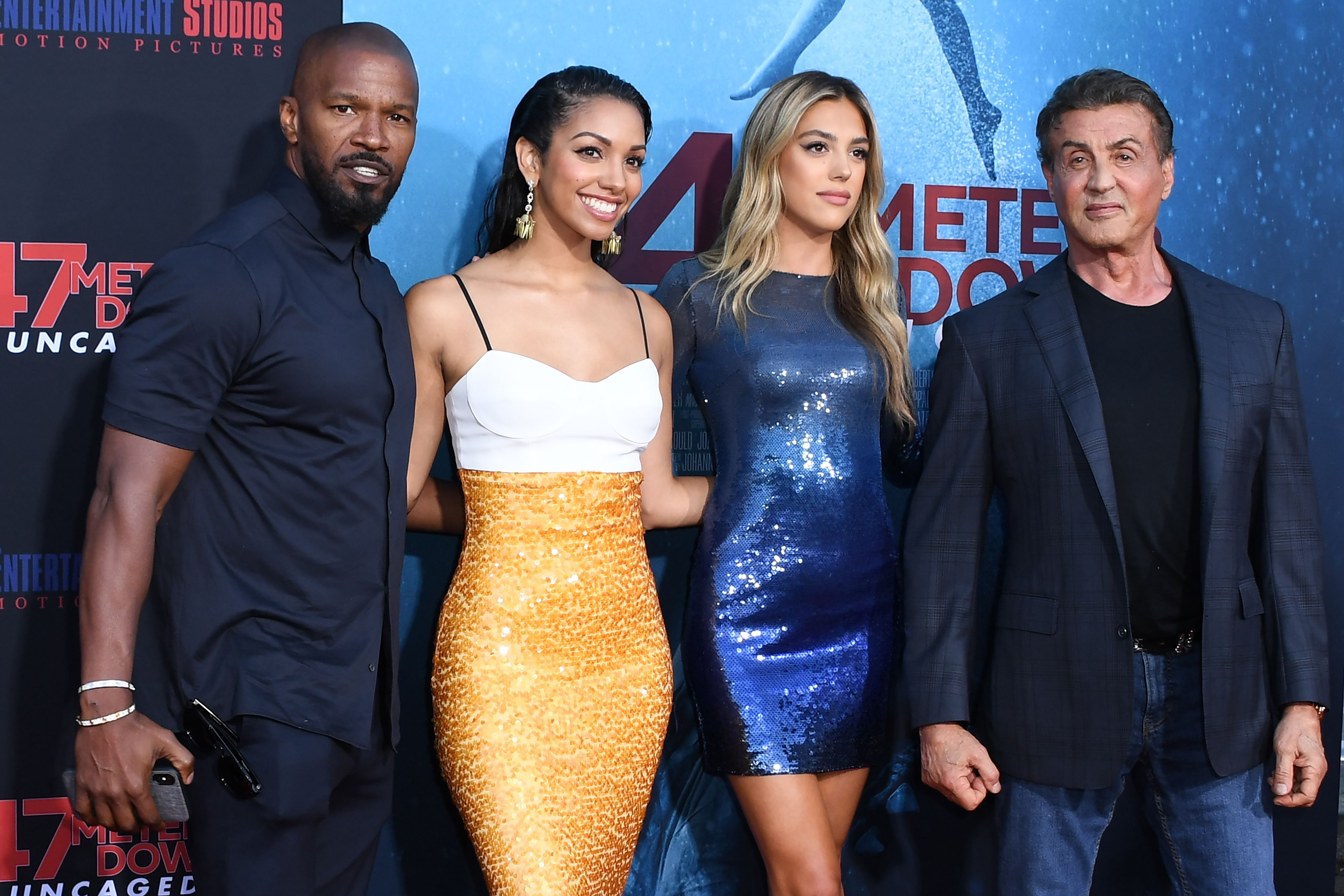 Sylvester Stallone and Jamie Foxx Sweetly Support Daughters at '47 Meters Down: Uncaged' Premiere