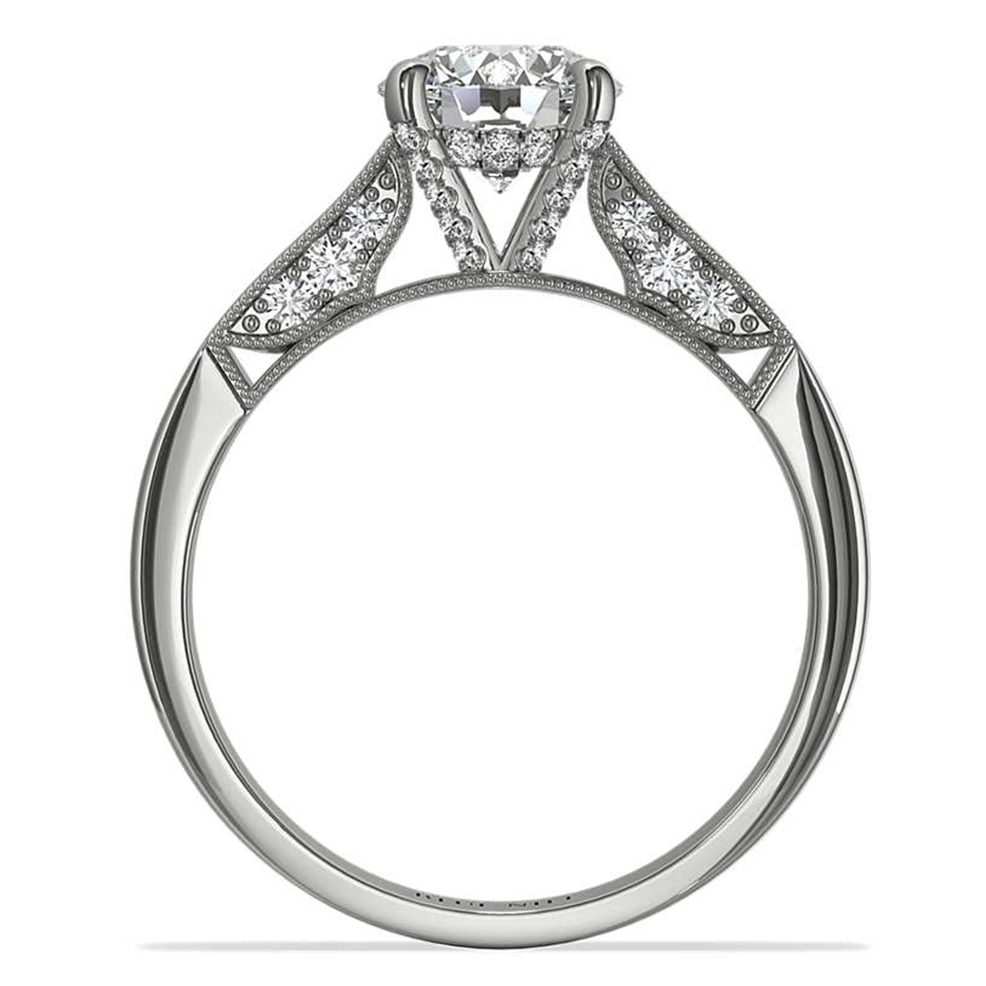 Blue Nile Diamond Pave and Miligrain Profile Solitaire Engagement Ring