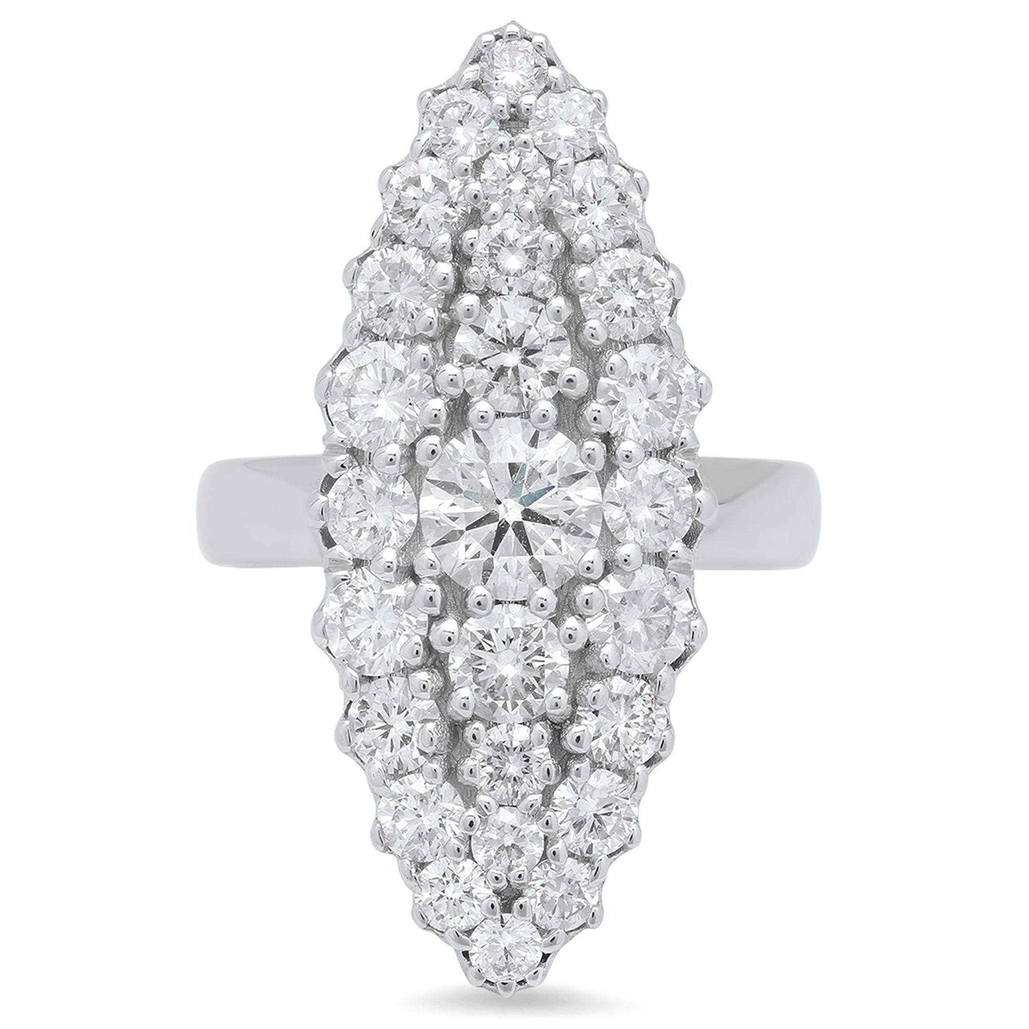 Colette 18k White Gold and White Diamond Les Chevalieres Marquise Ring