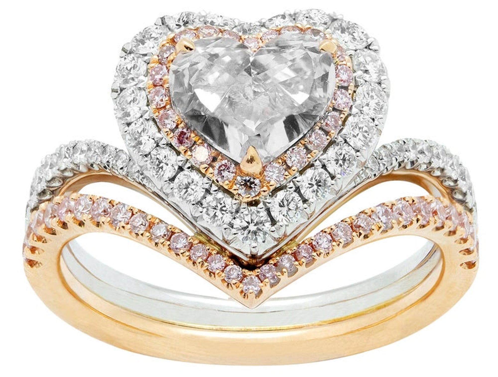Jason of Beverly Hills Double Halo Heart Engagement Ring, White Diamond, White and Rose Gold.