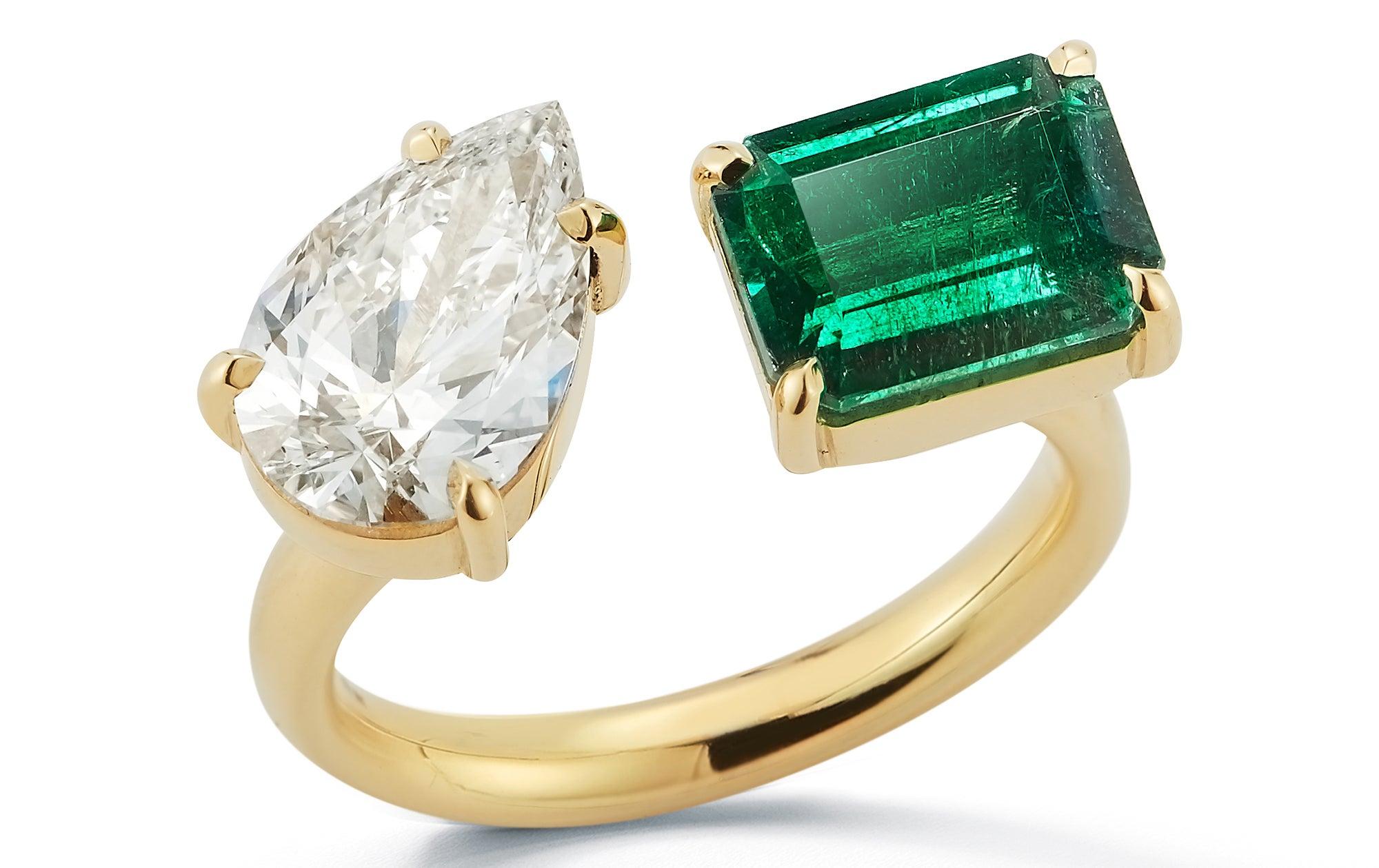 Jemma Wynne Diamond Pear and Emerald Open Ring