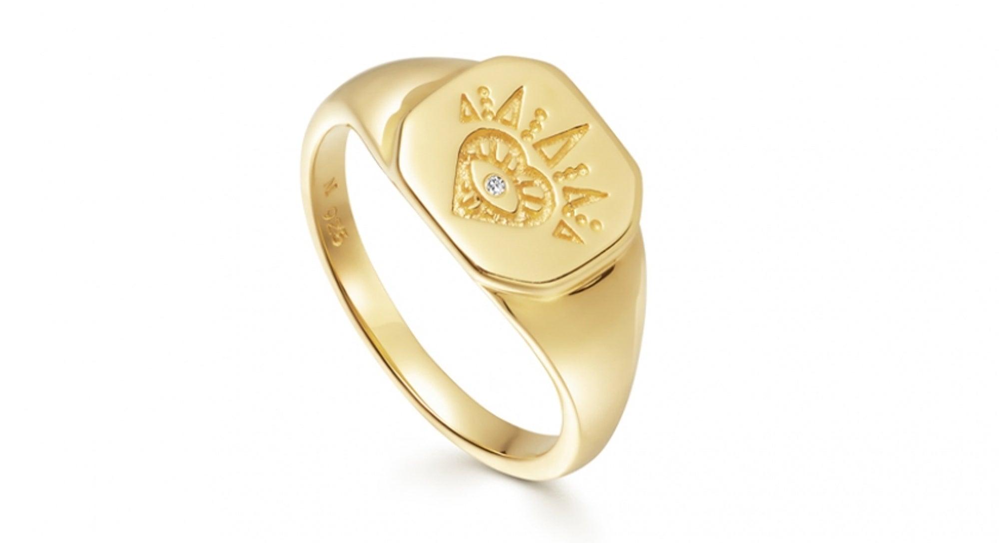 Missoma Gold Open Heart Signet Ring