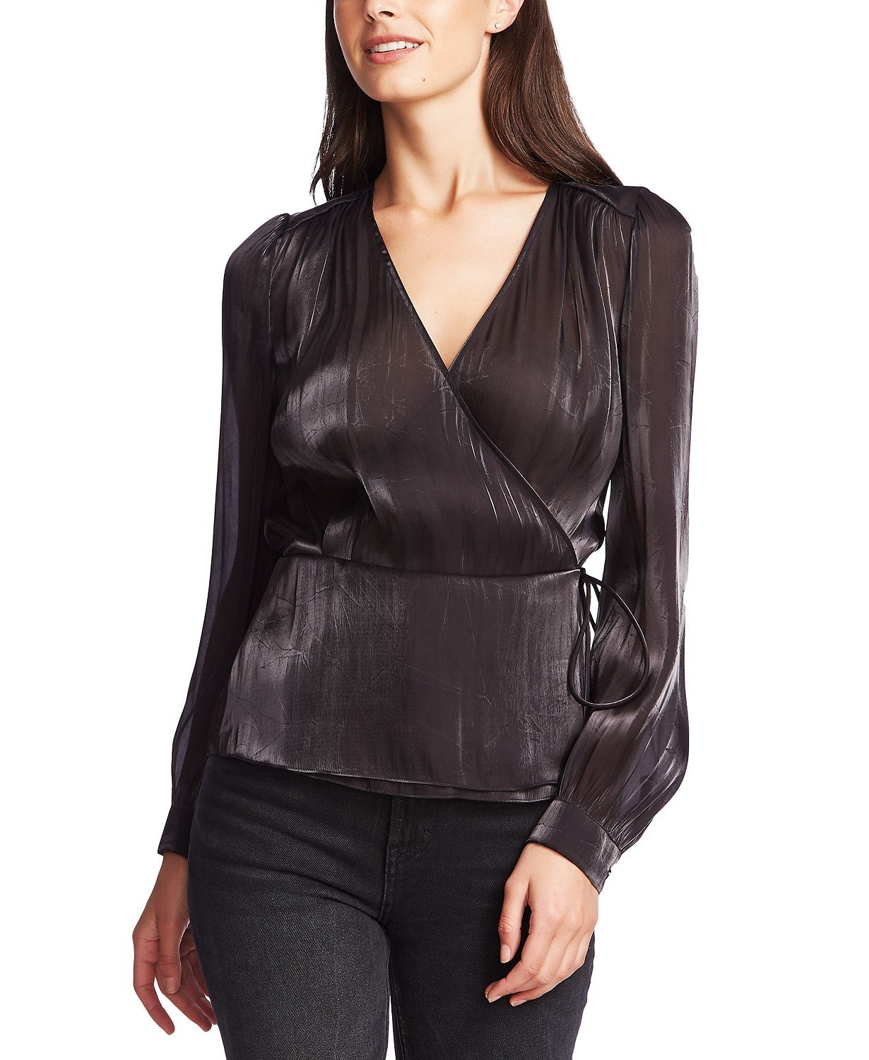 1.STATE Textured Shimmering Wrap Top